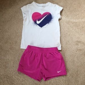 Girls Nike Tee with Shorts